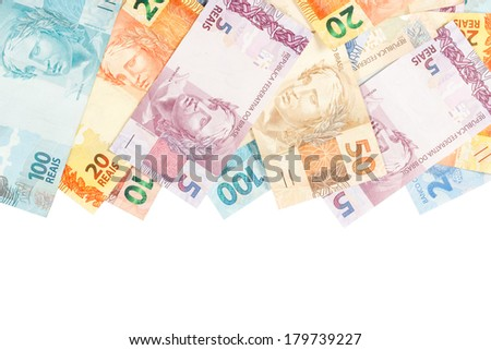 Brazilian money. A lot of new real notes. - stock photo