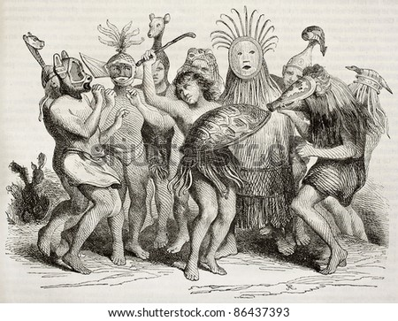 Brazilian natives dancing old illustration. By unidentified author, published on Magasin Pittoresque, Paris, 1843 - stock photo