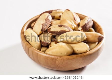 Brazilian Nut on a white background. - stock photo
