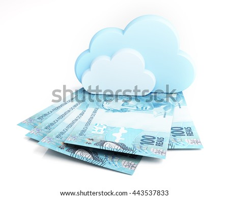 Brazilian real banknotes under cloud. 3d rendering. - stock photo