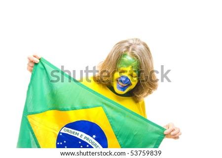 Brazilian sport fan holding a Brazilian Flag - stock photo