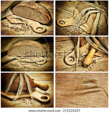 bread and corn on the wooden table, collage - stock photo