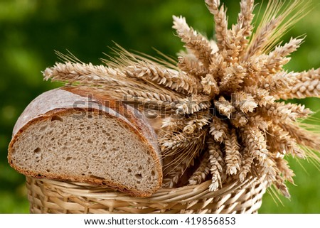 bread and sheaf of wheat and barley - stock photo