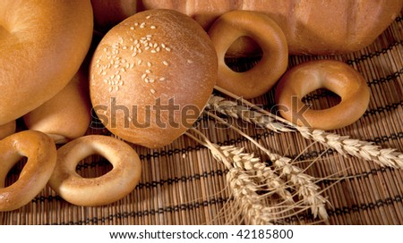 bread and spice - stock photo