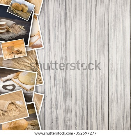 Bread and wheat in photos on a wooden background. - stock photo