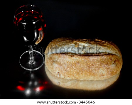 Bread and Wine - stock photo