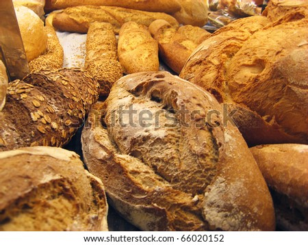 Bread baguettes and buns still life - stock photo
