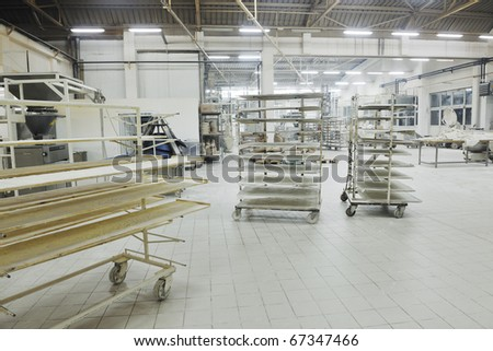 bread bakery food factory production with fresh products - stock photo