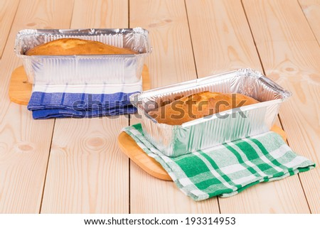 Bread baking in form close up. Whole background. - stock photo
