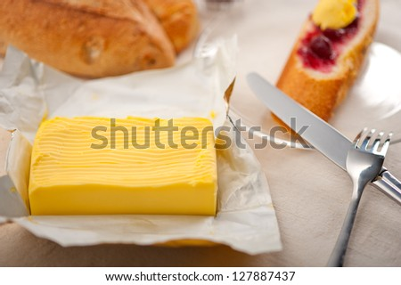 bread butter and jam classic European breakfast - stock photo
