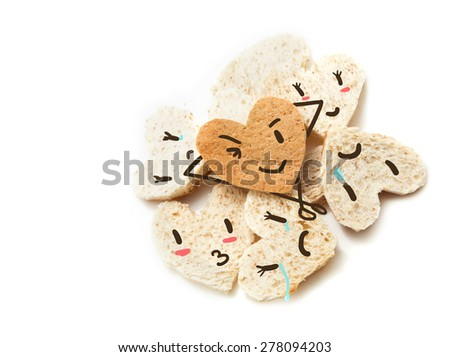 Bread face emotion concept business competition to leadership isolated on white background  - stock photo