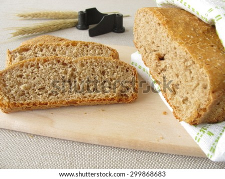 Bread from bread making machine - stock photo