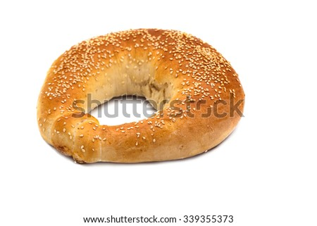 Bread in the form of a bagel on a white background - stock photo