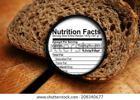 Bread nutrition facts - stock photo