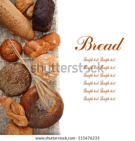 Bread on sacking isolated on white background - stock photo