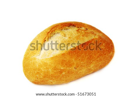 bread on white backgroundon - stock photo