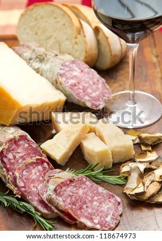 bread parmesan cheese and salami - stock photo