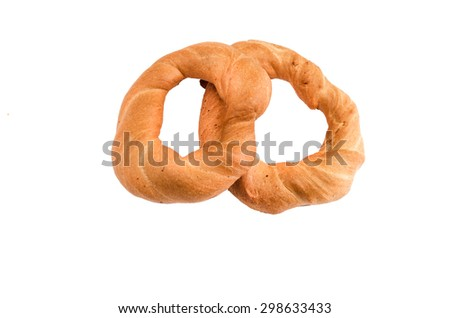 bread rings pastry on a white background - stock photo