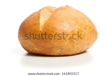 Bread roll, typical German breakfast food. Studio shot, cutout, isolated on white background. - stock photo
