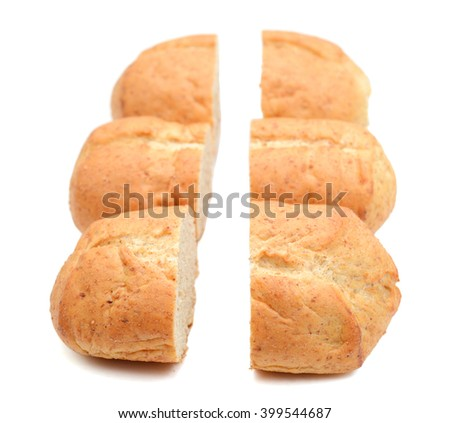 bread rolls cut half isolated on white  - stock photo