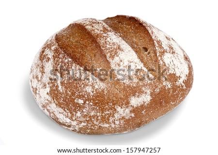 Bread - round sourdough rye bread - stock photo