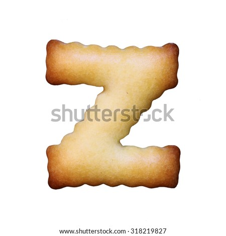 Bread sample letter z on white background. - stock photo