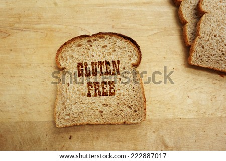 Bread slice with Gluten Free text                                 - stock photo