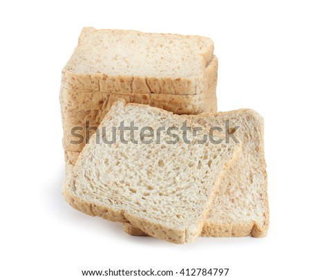 bread slices isolated on white - stock photo