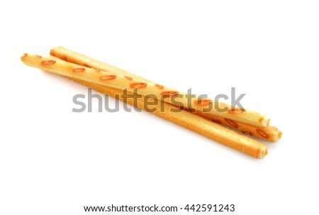 bread sticks on white background. Crispy straw - stock photo