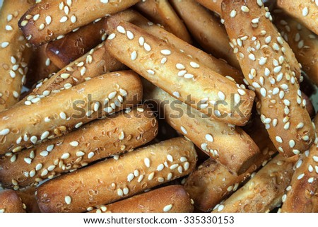 Bread sticks with sesame seeds close up - stock photo