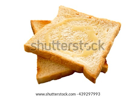 Bread toast topped with sweet milk for breakfast isolated on white background - stock photo