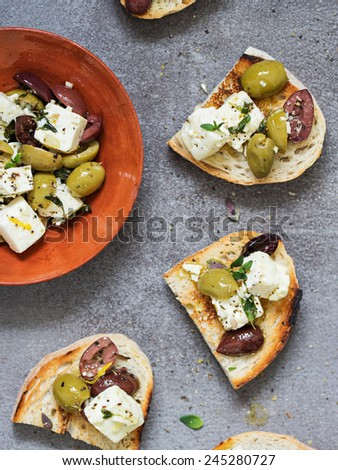 Bread with Feta and Olives. Selective Focus. - stock photo
