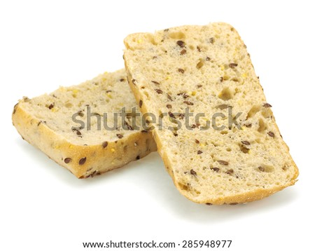 Bread with linen seed on a white background - stock photo