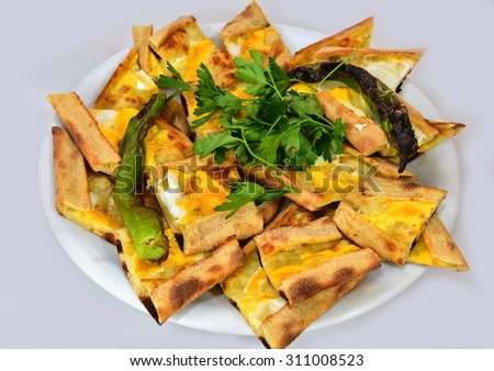 Bread with meat  egg cheesed - stock photo