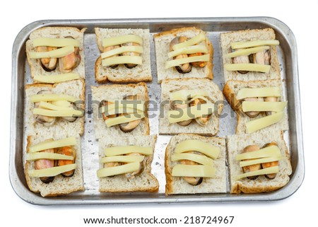 Bread with mussel and cheese on tray before bake for breakfast - stock photo