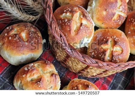 Bread with sea salt, milk and herbs - stock photo