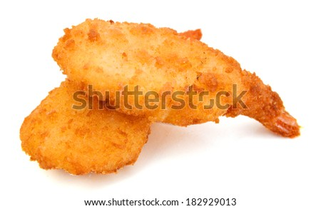 Breaded Butterfly Prawns - Deep fried battered prawns filled on white background  - stock photo