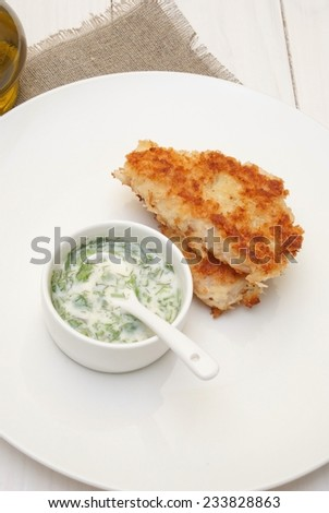 Breaded fish cutlets with yogurt dip - stock photo