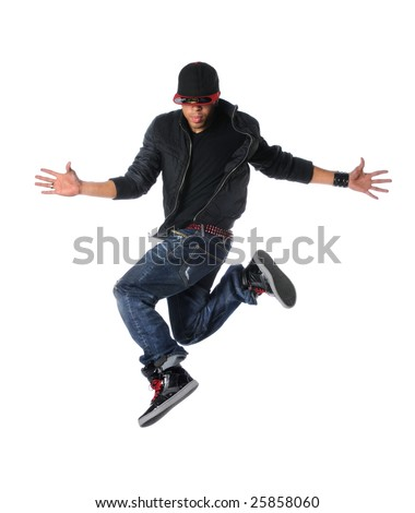 Break dancer jumping isolated over a white background - stock photo