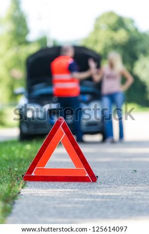 Breakdown by car - stock photo