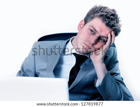 breakdown of businessman at the office - stock photo