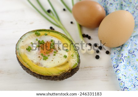 Breakfast/Brunch : Baked eggs in avocado.  - stock photo