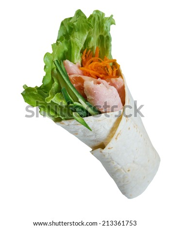 Breakfast burritos  made with chicken legs.Isolated - stock photo