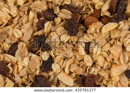 breakfast cereals background texture close up shot - stock photo