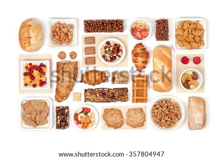 breakfast cereals on white background - stock photo