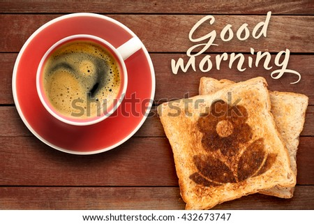 Breakfast, coffee and toast with a flower pattern  - stock photo