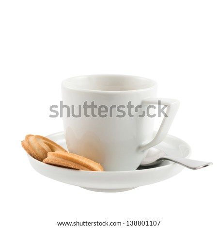 Breakfast composition: ceramic white cup, plate, spoon and butter cookies isolated over white background - stock photo