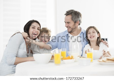 breakfast for an happy family - stock photo