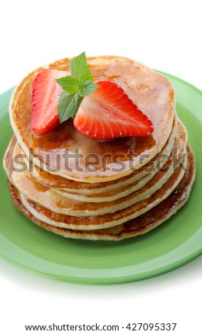 Breakfast.Pancakes with  strawberry . - stock photo