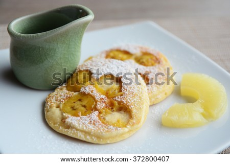 breakfast pancakes with syrup  - stock photo